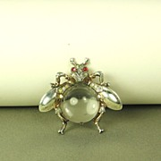 Vintage 1940s Trifari Lucite Jelly Belly BIG Fly Pin