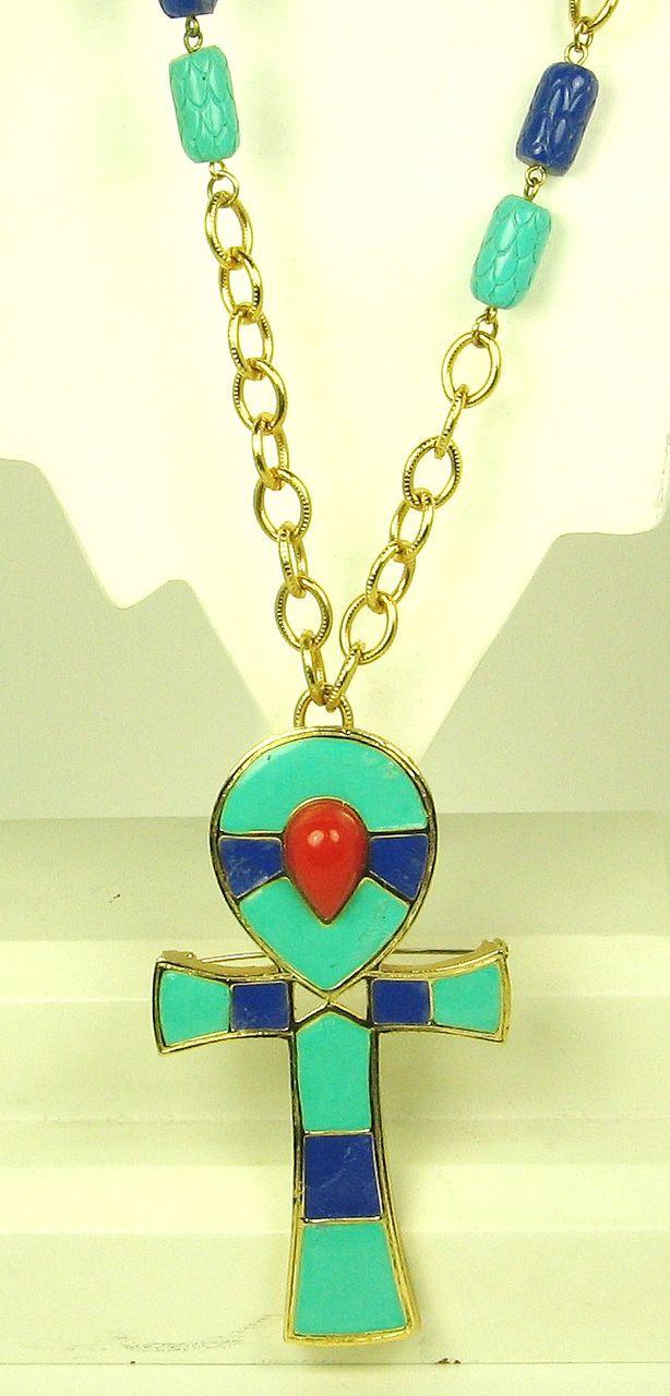 Hattie Carnegie Egyptian Revival Ankh Pendant Necklace