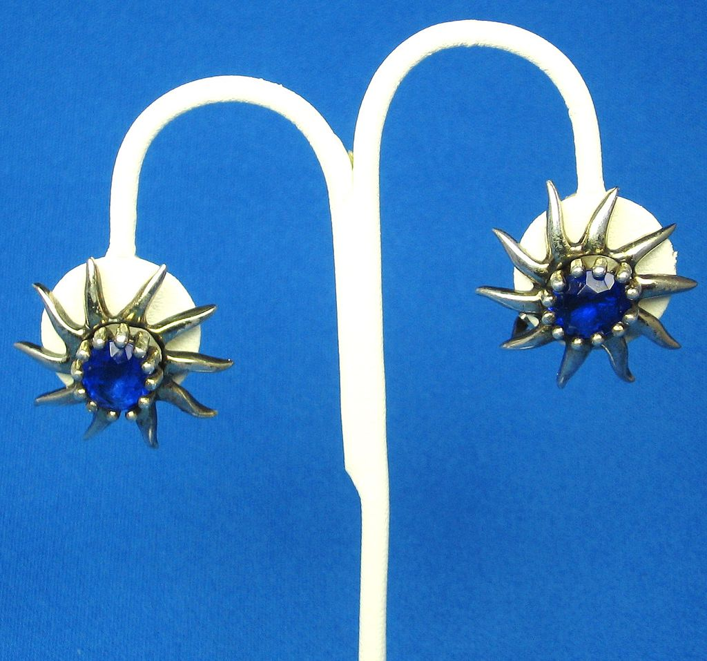 Hattie Carnegie Art Deco Sterling Blue Glass Sunburst Earrings