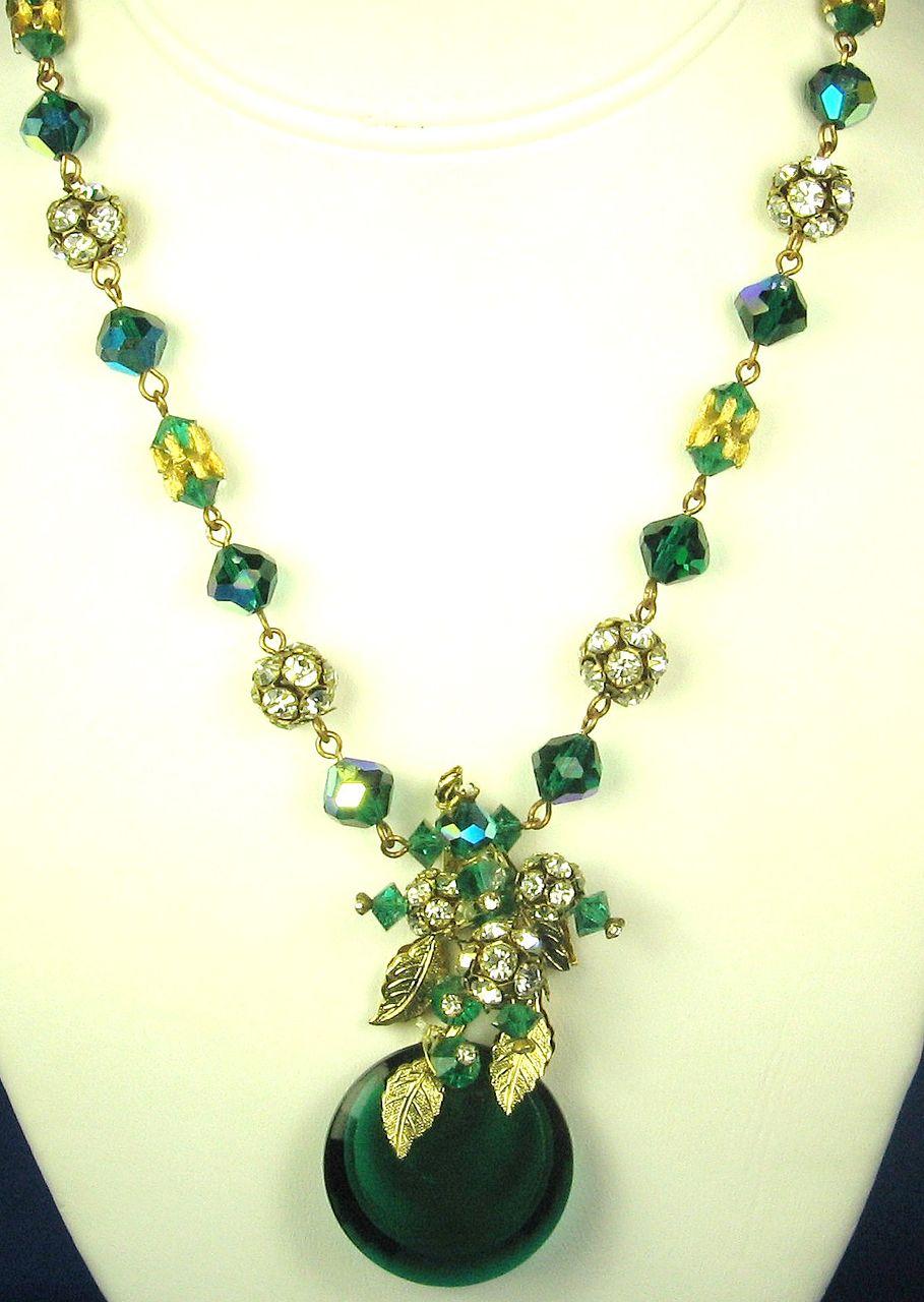 Hattie Carnegie Green Aurora Borealis Glass Floral Necklace