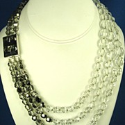 Hattie Carnegie 3 Strand White and Smoky Crystal Necklace