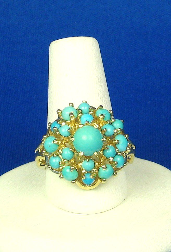 Item ID: 2325- Gold and Turquoise Ring In Shop Backroom