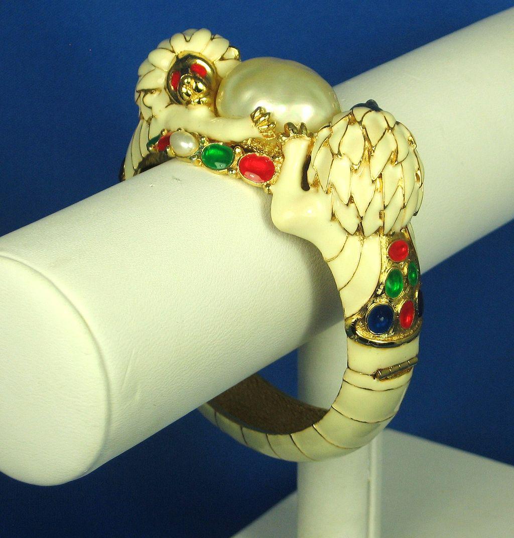 Hattie Carnegie K.J.L. White Enamel Imitation Pearl Lions Bracelet