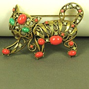 Vintage Hattie Carnegie Jade and Coral Glass Tiger Pin