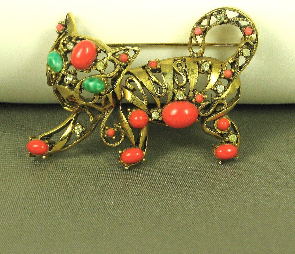 Vintage Hattie Carnegie Jade and Coral Glass Tiger Pin