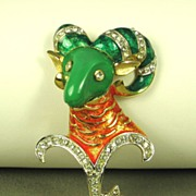 DeNicola Coral and Green Enamel Zodiac Aries Ram Pin