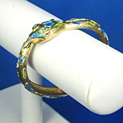 Hattie Carnegie Blue and Green Enamel Snake Bracelet