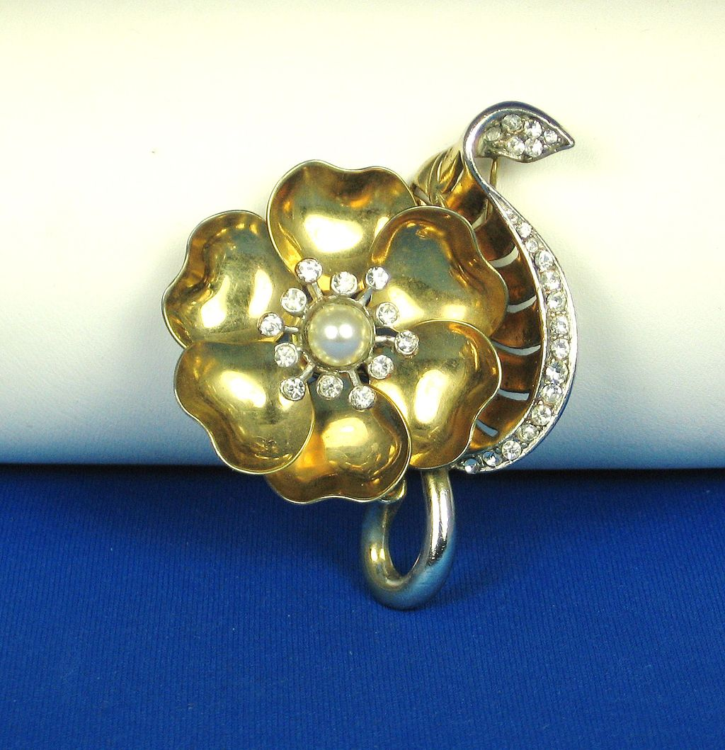 Marcel Boucher Imitation Pearl Day and Night Flower Pin