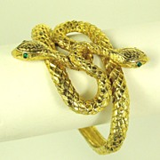 1960s Egyptian Revival Coiled Serpents Clamper Bracelet