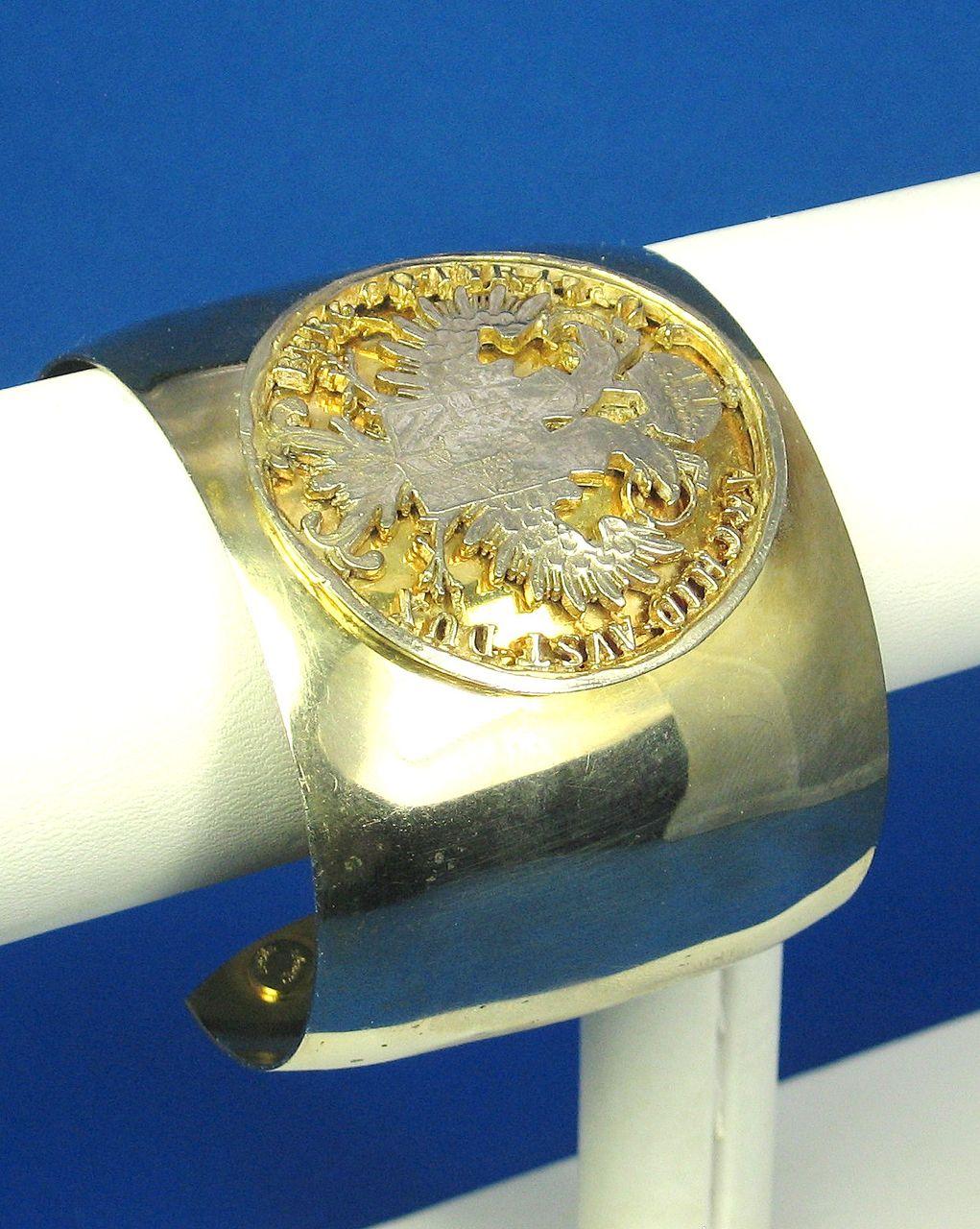 Hattie Carnegie Gold Tone Metal Heraldic Cuff Bracelet