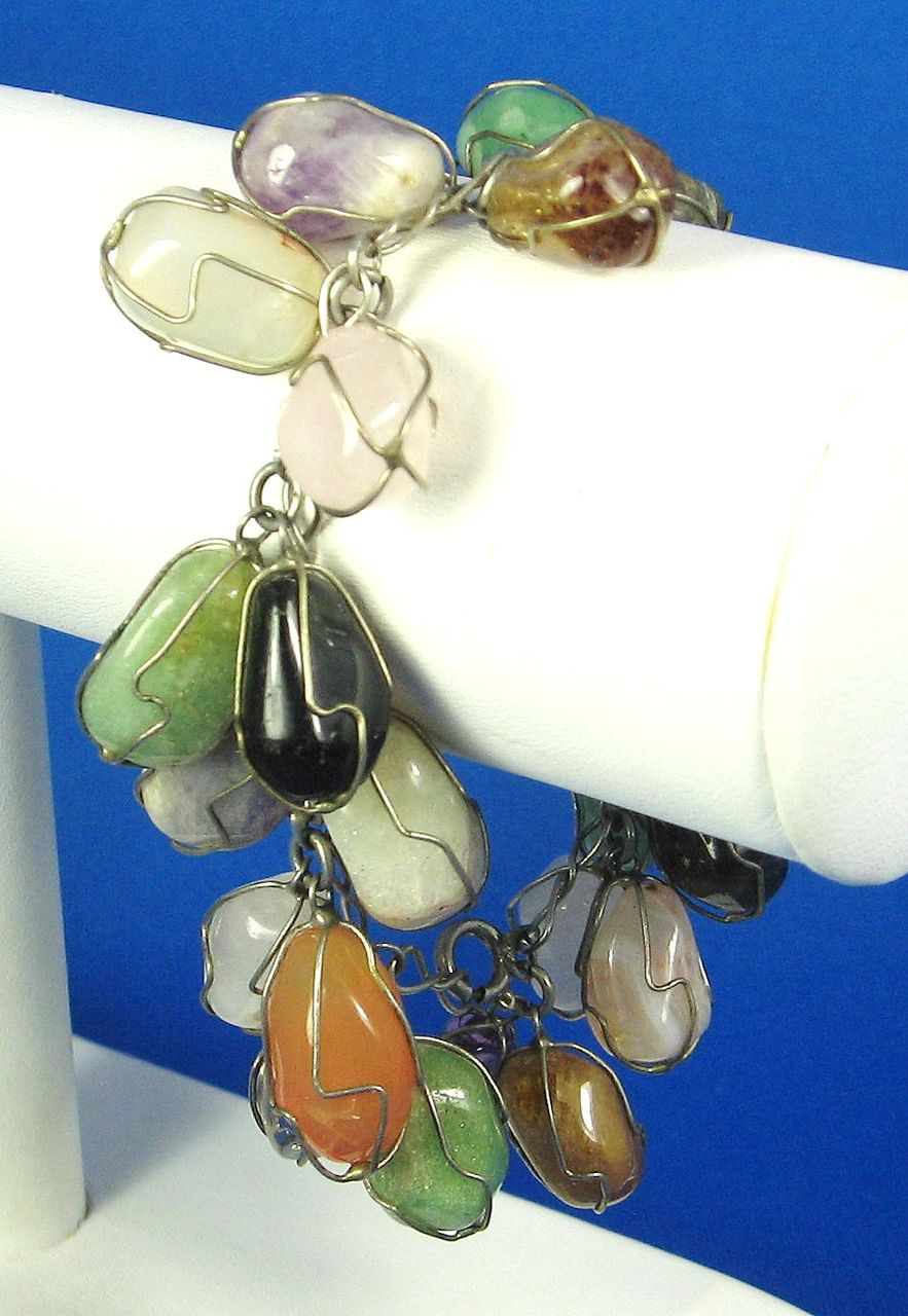 Genuine Agate Gemstone and Metal Wirework Bracelet