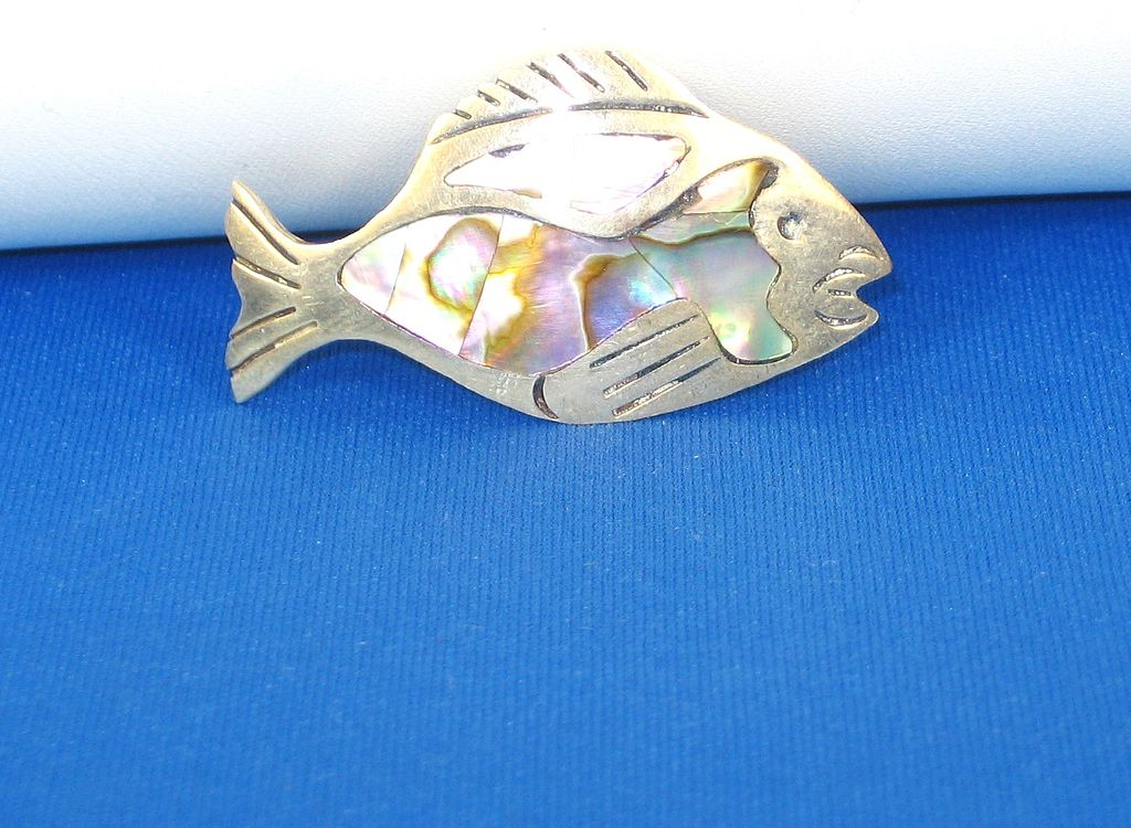 Melecio Rodriguez 925 Sterling and Abalone Shell Fish Pin