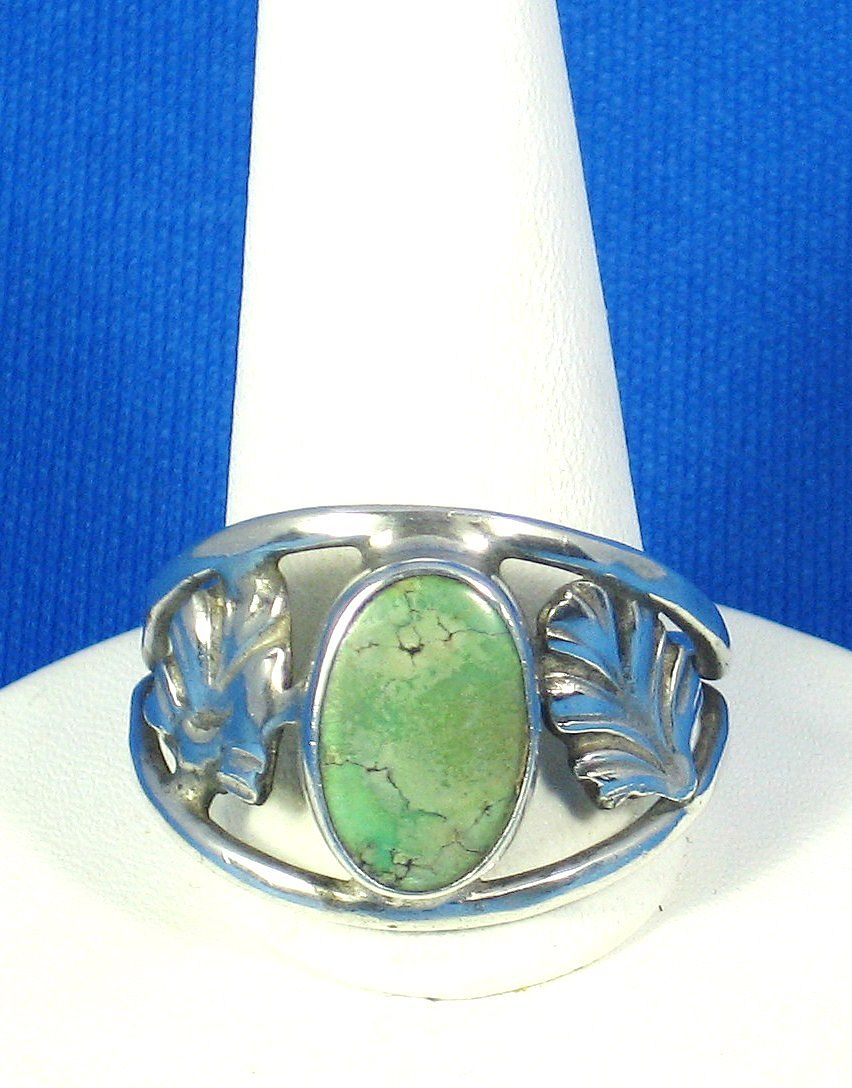 Genuine Veined Turquoise Leaf Ring