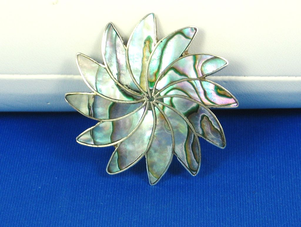 Melecio Rodriguez Taxco 925 Sterling and Abalone Shell Pin