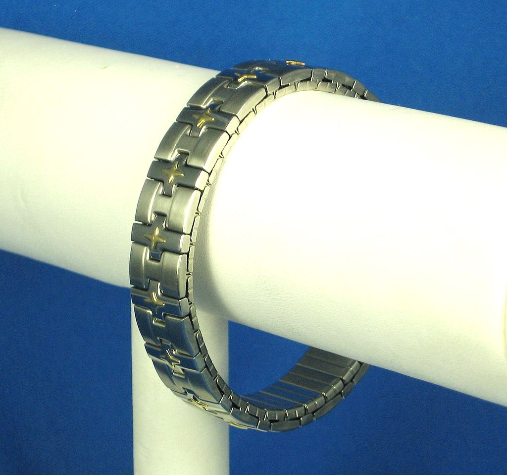Milor Italy Stainless Steel and 18kt Gold Stretch Bracelet