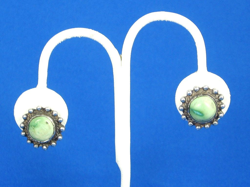 925 Sterling and Veined Turquoise Cabochon Earrings