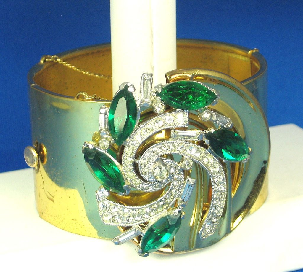 McClelland Barclay Green and White Rhinestone Cuff Bracelet and 12kt Gold Clasp