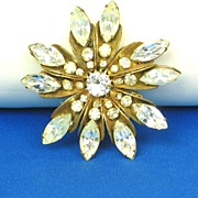 1949 Miriam Haskell Bold Crystal Sunburst Pin