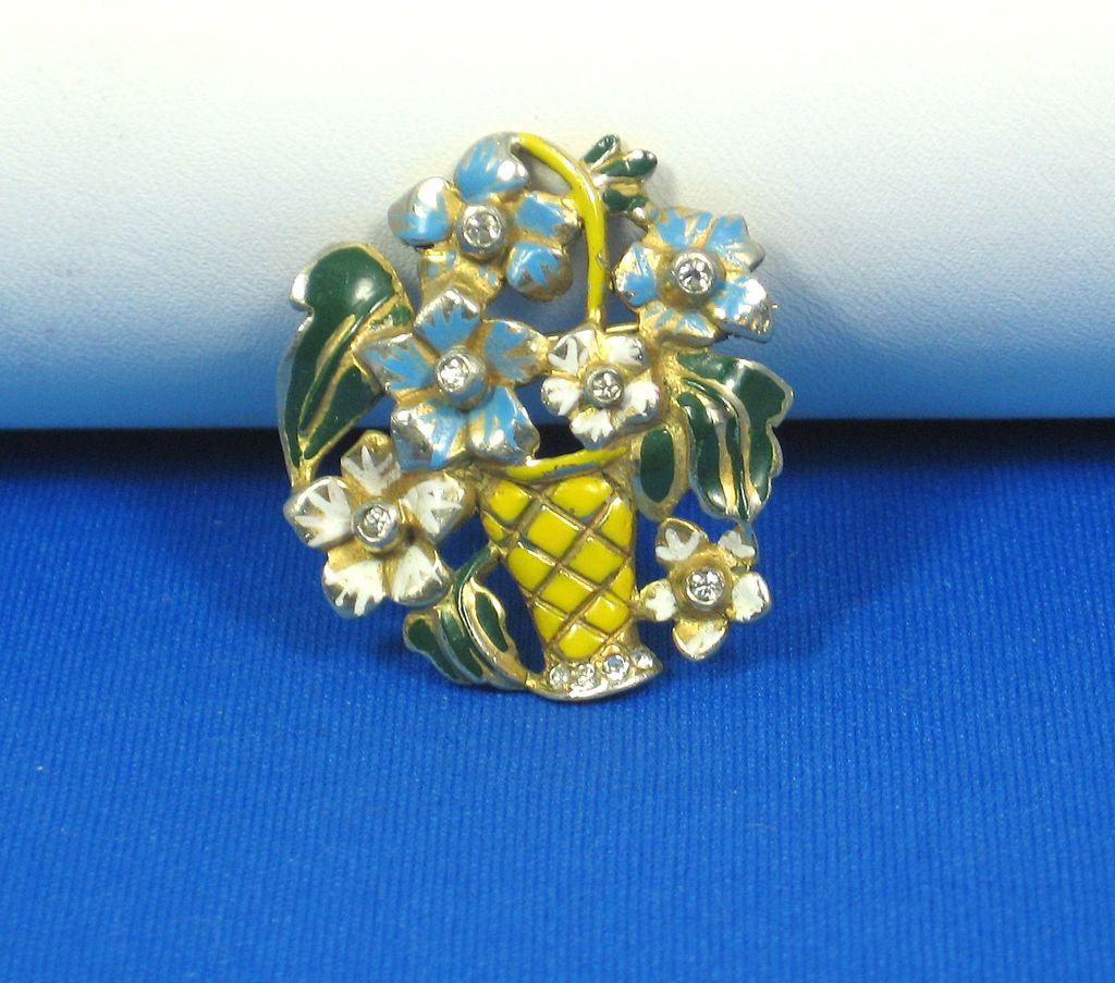Rare Signed Deja Enameled Flower Basket Pin