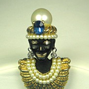 Ciner Imitation Pearl and Enamel India Prince Blackamoor Pin