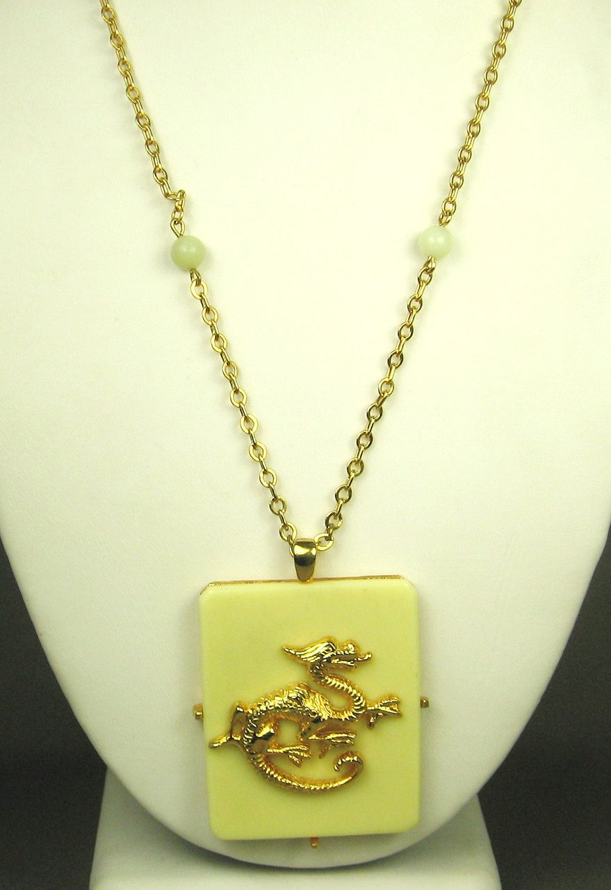 Vintage Hattie Carnegie Faux Ivory Dragon Necklace