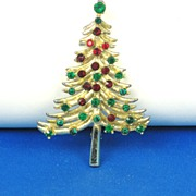 William Doddz Red and Green Rhinestone Christmas Tree Pin