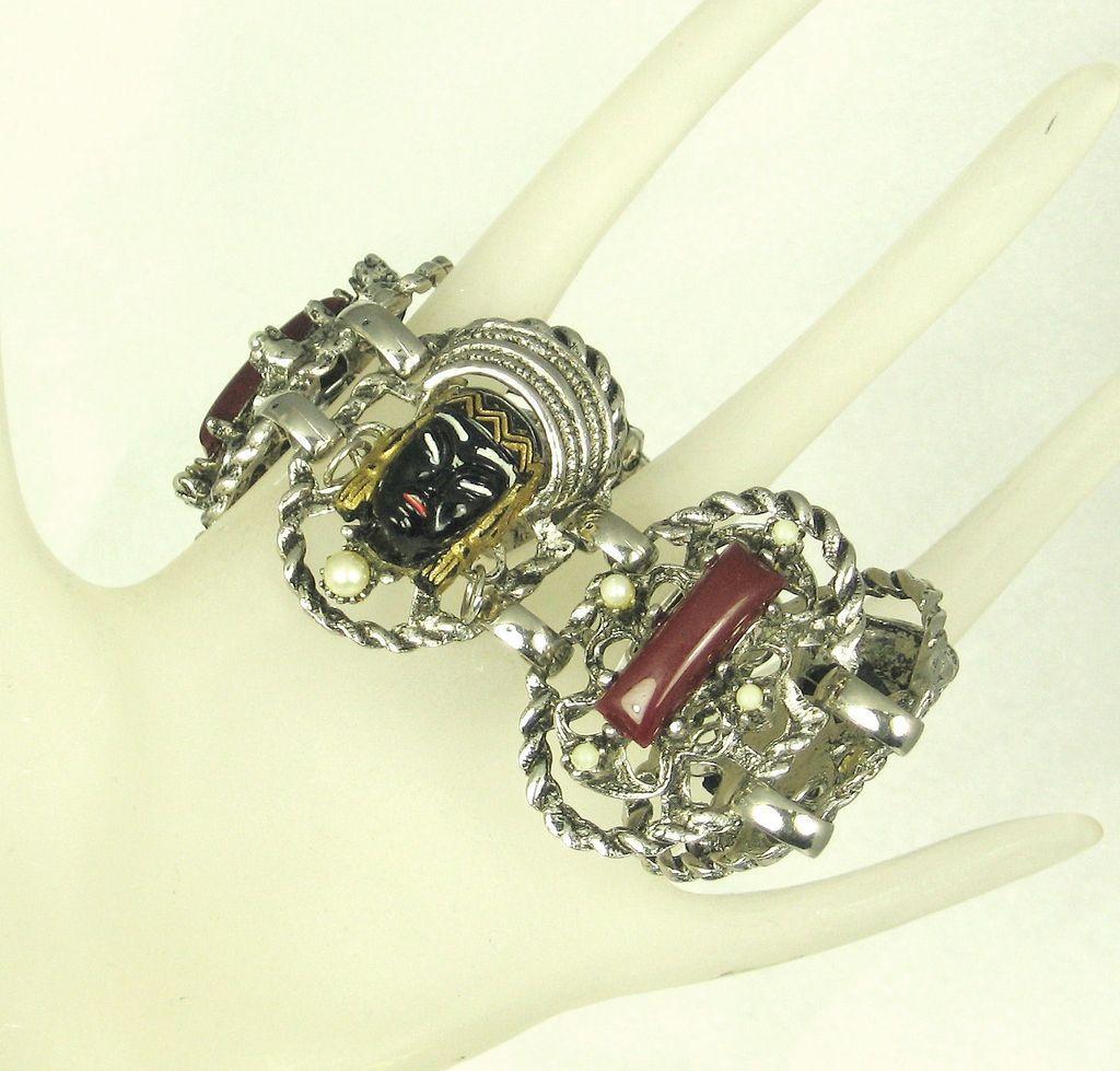 Vintage Selro/Selini Asian Princess Face Bracelet with Imitation Pearls