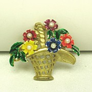 Vintage St. Labre Enamel Flower Basket Pin with Imitation Pearls