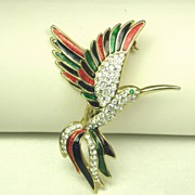 Vintage Rhinestone and Enamel Hummingbird Pin