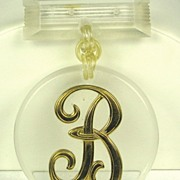 "Vintage Clear Lucite and Gold Tone Metal ""B"" Pin"