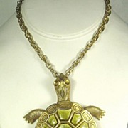 Vintage Movable Gold Tone Metal and Plastic Turtle Necklace
