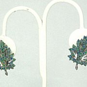 1957 Vendome Pot Metal and Rhinestone Leaf Earrings