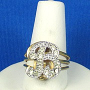 "Vintage Rhinestone ""B"" Pin and 18kt Gold Electroplate Ring"