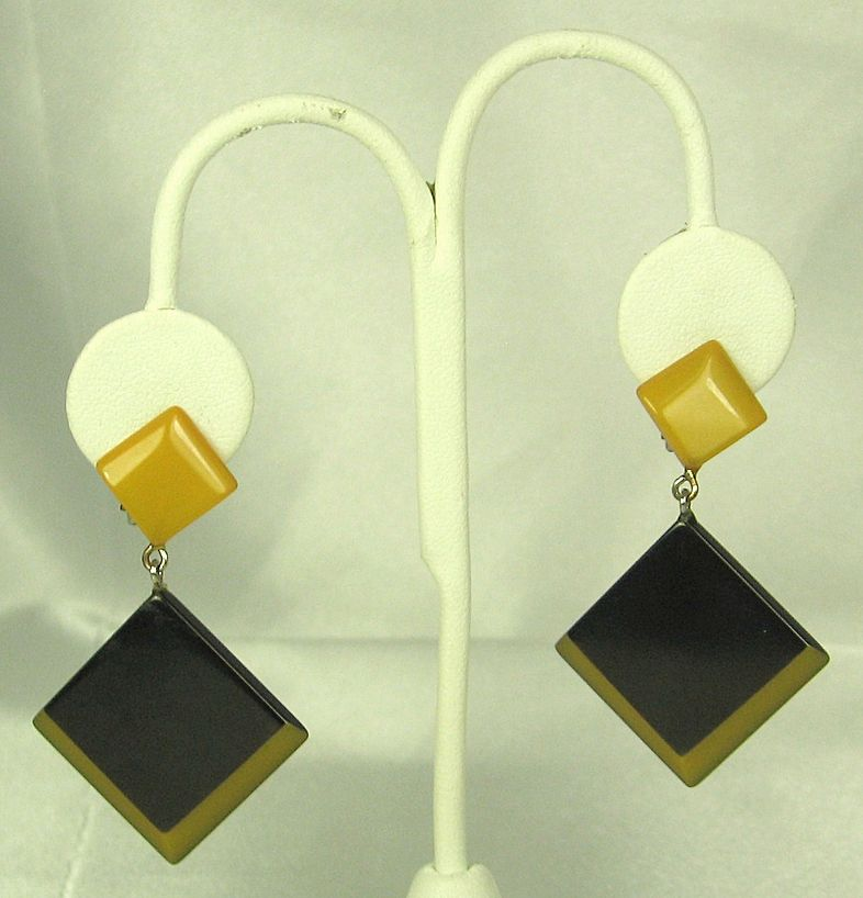 Vintage Art Deco Machine Age Jakob Bengel Earrings
