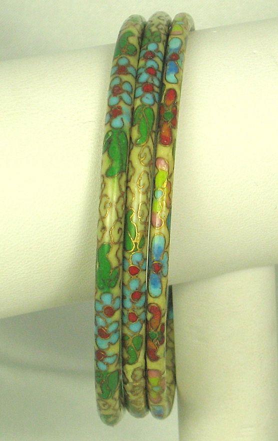 3 Vintage Floral Cloisonne Bangle Bracelets