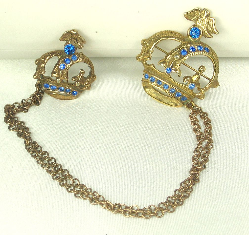 Vintage Antique Blue Rhinestone and Brass Metal Dual Crown Pins