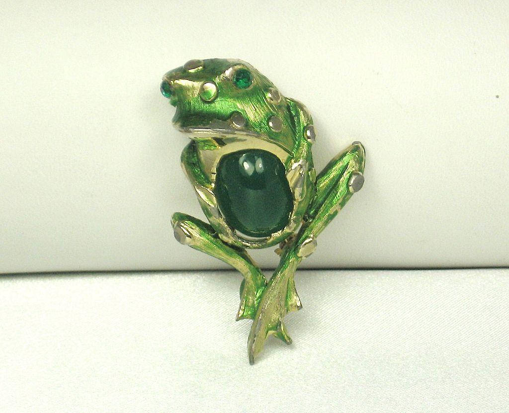 Vintage Hattie Carnegie Green Enamel and Glass Frog Pin