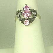 Vintage 925 Sterling, Pink Topaz, and Marcasite Dolphin Ring