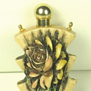 Vintage Carved Floral Perfume Bottle and Necklace Pendant