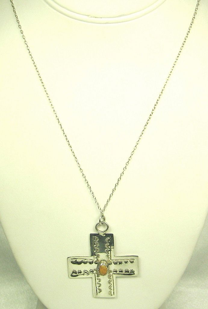 Vintage 925 Sterling and Coral Cross Pendant Necklace