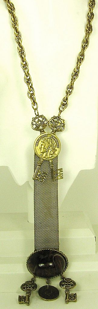 DeNicola/Hattie Carnegie French Themed Dangle Coin Key Necklace