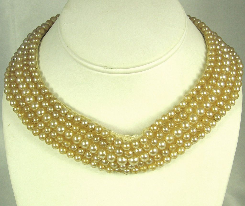 1950s Marsha Ann Five Strand Imitation Pearl Choker Collar Necklace