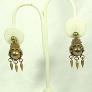 Vintage Gold Tone Metal Dangle Screw Back Earrings