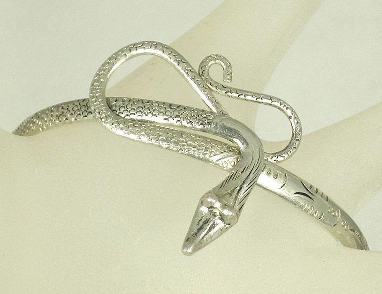 Antique Vintage 800 Silver Snake Bangle Bracelet