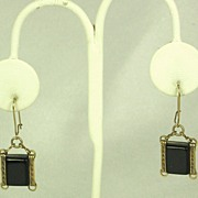 Vintage Pierced Black Lucite Hook Earrings