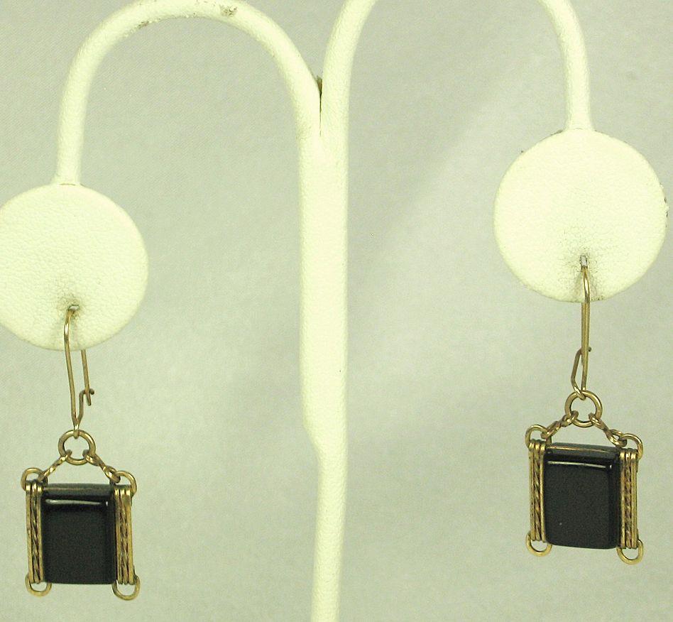 Vintage Pierced Black Lucite Hook Earrings