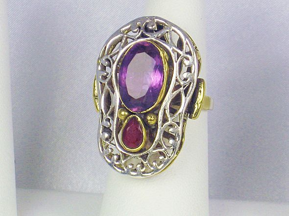 Art Deco 14kt Gold and Sterling Ruby and Amethyst Ring