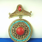 Genuine Turquoise and Coral Tibetan Pendant