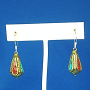 Vintage Turquoise and Coral Tibetan Dangle Earrings
