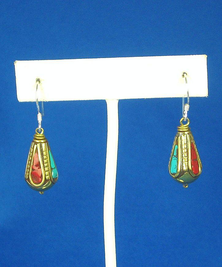 Vintage Turquoise and Coral Tibetan Dangle Earrings